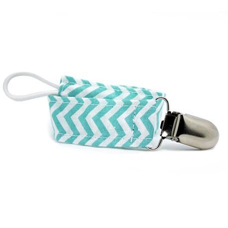 Attache Tétines en Tissu Bleu Zigzag