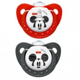 Pack 2 Tétines Nuk de Mickey rouge et noir