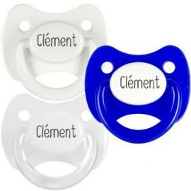 3 Tétines Personnalisées: Blanc, Blanc anneau transparent et Bleu capuchon blanc