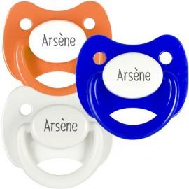 3 Tétines Personnalisées: Orange, bleu et blanc