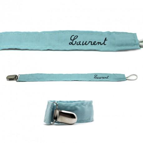 Attache Tétine en Tissu Bleu