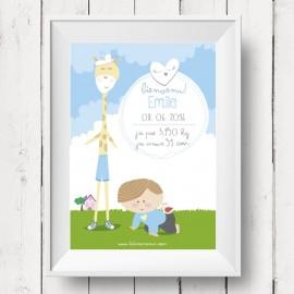Affichette de Naissance Girafe pour Garçons