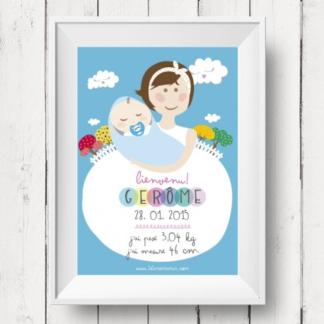 Affiche de naissance super câlin