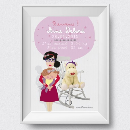 Affiche de naissance  Super Maman