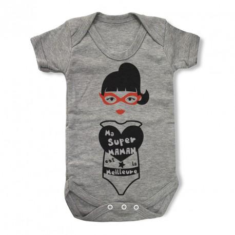 Body gris personnalisé Ma super Maman