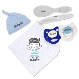Pack de Naissance  Couverture enveloppante pour Bébé Bleu Ciel
